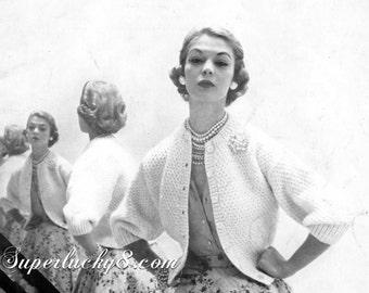 Vintage Cardigan knitting PDF pattern , download pattern
