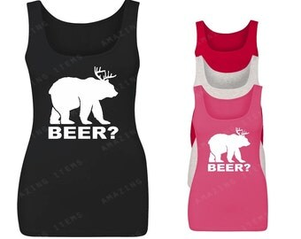 Beer?,Bear,Deer Women Tank Top Funny Tank Tops