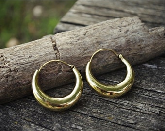 Bronze earrings. Tribal jewelry. Boho hoop earrings.