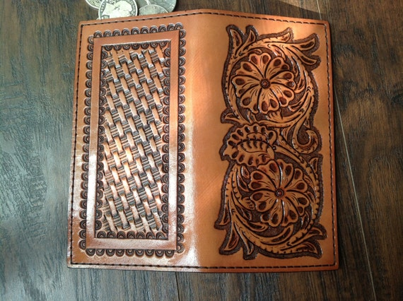roper style  checkbook mens leather wallet hand carved and dyed