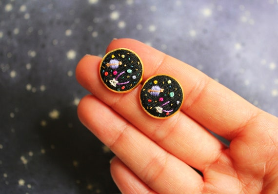 Hand embroidered ' Mini Space' Earrings by İrem Yazıcı