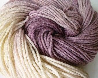 Hand Dyed Yarn, Hand Painted Yarn, Worsted Weight Yarn, Superwash Merino Wool, Dusty Lavender Purple Cream