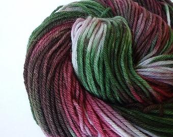 Hand Painted Yarn, Hand Dyed Yarn, Worsted Weight Yarn, Superwash Merino Wool, Christmas, Holiday, Red Green Silver