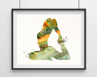 Yoga print Yoga poses print Watercolor yoga print Yoga posture Yoga poster poster wall decor wall hanging home art decor Yoga gift-2