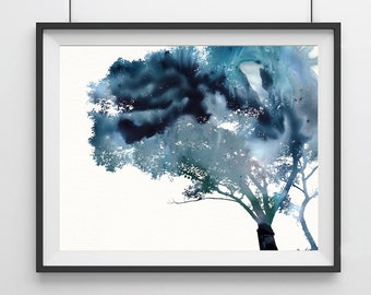 Watercolor Tree Art Print - Blue - Tree art Print - Home decor