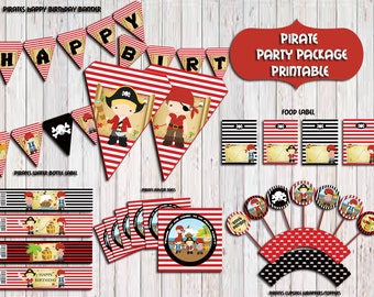 Pirate Party Package, Pirate Invitation Birthday Party,Pirates Party Supplies,Banner,sign,Centerpieces, PRITABLE DIY