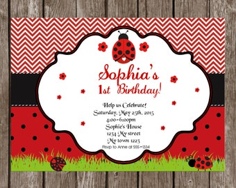Ladybug Invitation Birthday Printable Chevron, Lady bug invitation Ladybug 1st birthday any age, Ladybug party, ladybug personalized