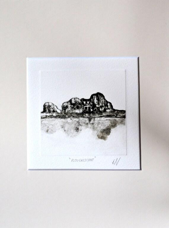 dessin paysage noir et blanc croquis original encre par pinterie. Black Bedroom Furniture Sets. Home Design Ideas