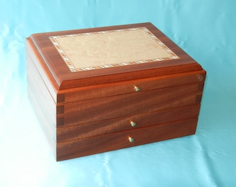 Sapele Jewelry Box with Two Drawers and 2 Sliding Compartments