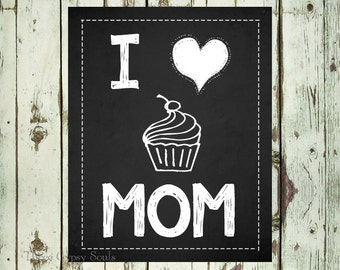 PRINTABLE ART I Heart Mom. Cupcake Wall Art. Mothers Day Mom Gift. I Love Mom. Mothers Day Gift. Gift For Mom