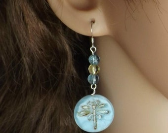 Blue dragonfly drop earrings with sterling silver ear wires.
