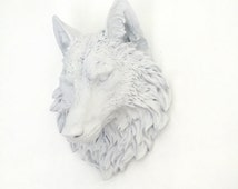 ANY COLOR or WHITE Wolf Head Wall Mount // Faux Taxidermy // Man Cave // Animal Sculpture // Wall Decor // Lone Howling Wolf // Animal Head