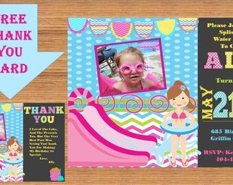 Water Slide Birthday Party Invitation, Swimming Party, Water Slide, Printable Invitation, Personalized, Girls Party, Product# Pool 0005