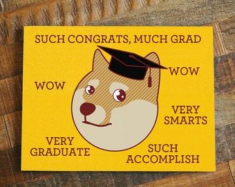 "Funny Graduation Card ""Much Grad"" - Funny Congratulations Card, Shiba Inu Card, Doge Card, Meme Card, Geeky Grad Card, Shibe, Grad Gift"