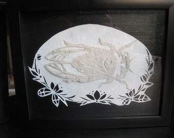 Flower and Cicada paper cut out