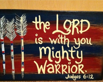 Mighty Warrior Archery Scripture Sign