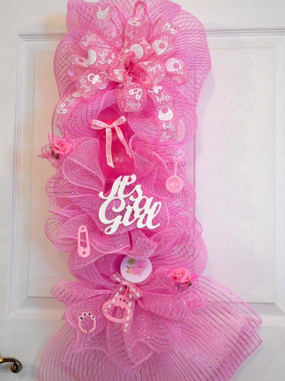 Baby girl deco mesh wreaths it 39 s a girl by for Baby girl hospital door decoration