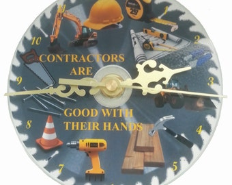 CD Clock Contractors are Good With Their Hands FREE SHIPPING