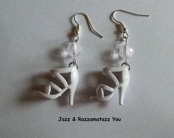 Handcrafted White Barbie Shoe Earrings