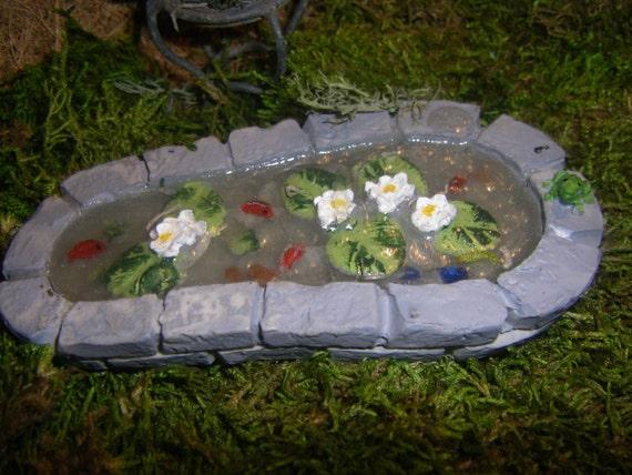 Dollhouse landscape or fairy garden miniature stone koi pond for Stone koi pond