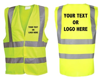 Hi Vis Personalised Vest Your Text Printed