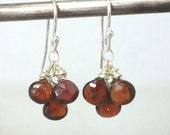 Garnet Earrings .. Red Garnet Earrings .. Garnet and Sterling Silver Earrings .. Handmade Jewelry .. Garnet Jewelry