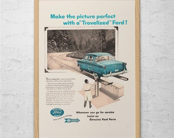 VINTAGE FORD Ad - Retro Car Ad - FORD Classic Car Ad Mid-Century Poster Garage Mechanic Shop Vintage Car Poster 1950's Car Ad