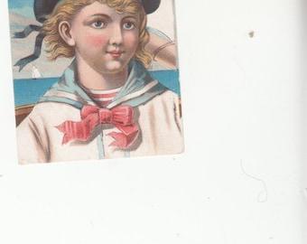 Tradecard Circa Pre 1900 Sailor Boy Calf&Goat Shoes Amsterdam,NY