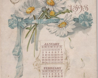 Fine Antique 6 Page Floral Calendar L Prang Boston,1898,On Hard Board,Ribbon Connector