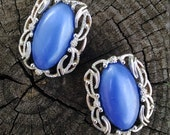 Vintage Sarah Coventry Earrings..Blue and Silvertone..Clip Backs... 1960s..Signed