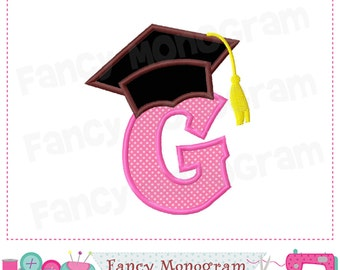 Graduation Cap Monogram G applique,School Letter G applique, Graduation Cap design,G,School applique,Font G,Graduation,Machine Embroidery