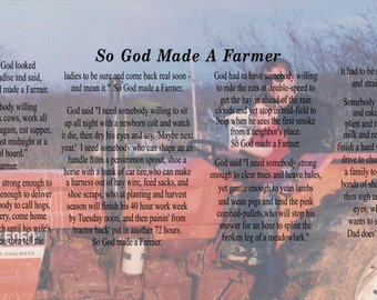 So God Made A Farmer Personalized  or Custom Photo Canvas Wall Hanging - Mother's Day, Father's Day, Christmas, FFA, Paul Harvey