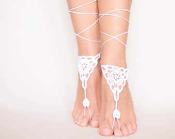 Crochet white barefoot sandals/Wedding barefoot sandals/Beach bride shoes/Bohemian wedding/Boho accessories/Boho chic/Bridal party/Hippie1