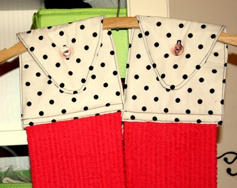 Custom Hanging Kitchen Towels with Pink Towel and White Fabric with Black Polka Dots