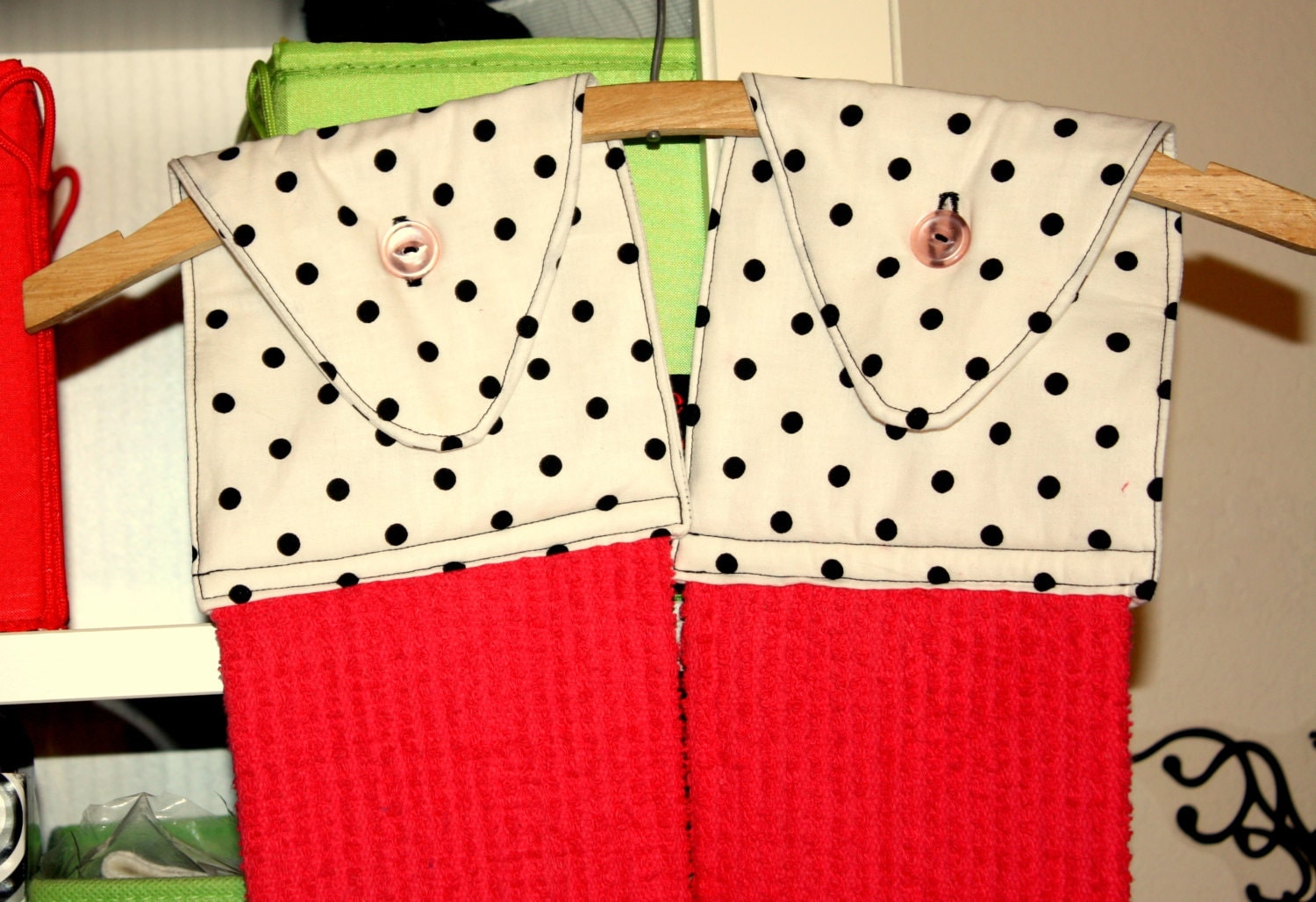 Custom Hanging Kitchen Towels with Pink Towel and White Fabric