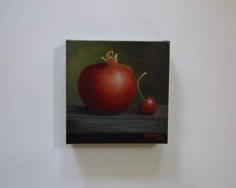 SALE 6x6' acrylic small still life painting, cherry painting, pomegranate painting, tiny kitchen painting, fruit painting, food, cherries