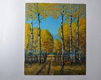 Dressed in Gold, 15x18'original acrylic aspens painting, forest painting, woods painting, fall painting, autumn, tree painting, aspen art