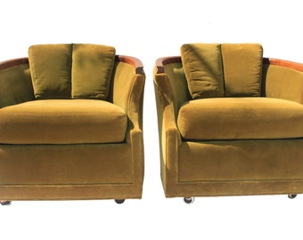 Pair Of Mid Century Green Velvet Barrel Back Club Chairs On Casters    Walnut Wood Accent