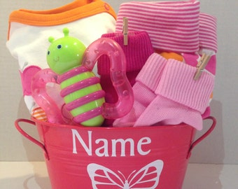 Newborn Baby Girl Outfit in Pink Tin With Name and Butterfly Graphic