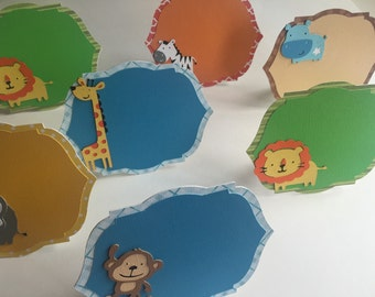 Jungle themed food place cards, food tents, safari birthday!