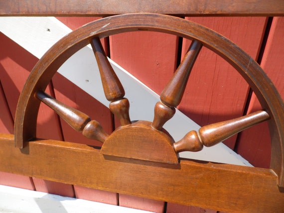 1960s single western wagon wheel bed headboard and footboard