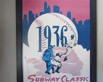 POTTERY BARN Kids vintage baseball program print - boys/kids room, adorable, htf, huge, RARE!!!