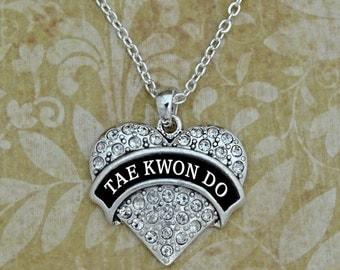 Tae Kwon Do Karate Rhinestone Heart Necklace