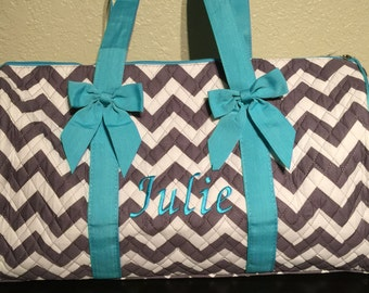 Chevron Print Monogrammed Duffle Bag Gray and White with Turquoise Trim