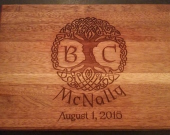 Solid Mahogany Wedding Engraved Kitchen Cutting Board Celtic Tree of Life