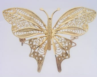 14K Yellow Gold Butterfly Brooch / Pin