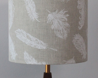 White feathers on natural linen handmade drum lampshade