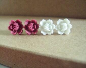 Set of Rose/Flower Lucite Stud Earrings