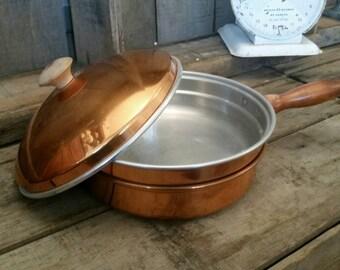 Vintage Copper Chafing Dish Pan Boiler Lid Wooden Handle Farmhouse Cottage Kitchen Decor
