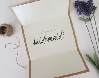 "Will You Be My Bridesmaid Card | Personalized Bridesmaid Card | Tri-Folded 5""x7"" Card & Envelope 